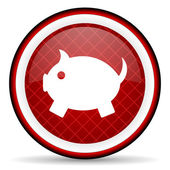 Piggy bank red glossy icon on white background — Stock Photo
