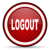 Logout red glossy icon on white background — Stock Photo