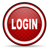 Login red glossy icon on white background — Stock Photo