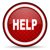 Help red glossy icon on white background — Stock Photo