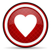 Heart red glossy icon on white background — Stock Photo