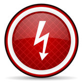 Lightning red glossy icon on white background — Stock Photo