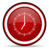 Clock red glossy icon on white background — Stock Photo