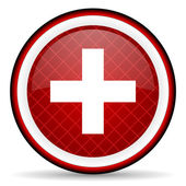 Emergency red glossy icon on white background — Stock Photo