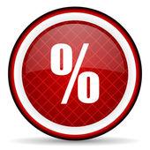 Percent red glossy icon on white background — Zdjęcie stockowe