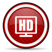 Hd display red glossy icon on white background — Stock Photo