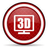 3d display red glossy icon on white background — Stock Photo