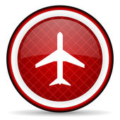 Airplane red glossy icon on white background — Stock Photo