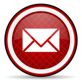 Mail red glossy icon on white background — Stock Photo