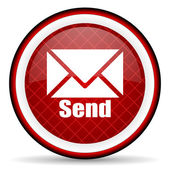 Send red glossy icon on white background — Stock Photo