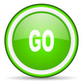 Go green glossy icon on white background — Stock Photo