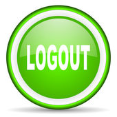 Logout green glossy icon on white background — Stock Photo