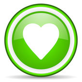 Heart green glossy icon on white background — Stock Photo
