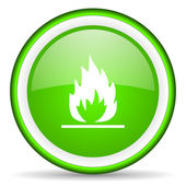 Flames green glossy icon on white background — Stock Photo