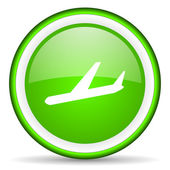 Airplane green glossy icon on white background — Stock Photo