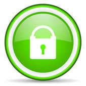 Protect green glossy icon on white background — Stock Photo