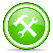 Tools green glossy icon on white background — Stock Photo