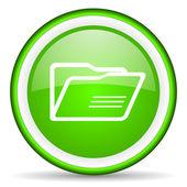 Folder green glossy icon on white background — Stock Photo