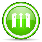 Batteries green glossy icon on white background — Stock Photo