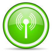 Wifi green glossy icon on white background — Stock Photo