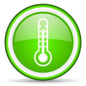 Thermometer green glossy icon on white background — Stock Photo