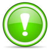Exclamación firmar icono verde brillante sobre fondo blanco — Foto de Stock