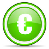 Euro green glossy icon on white background — Stock Photo