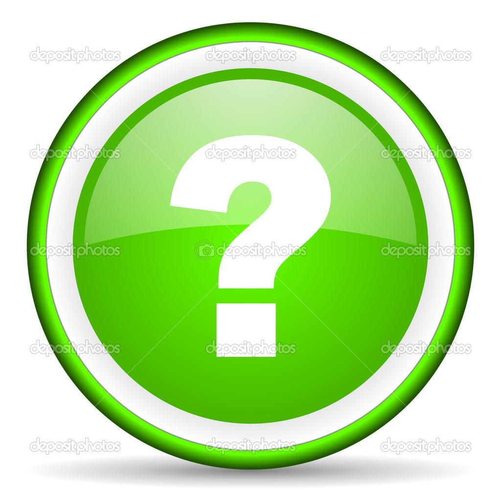 ícone brilhante do ponto de interrogação verde sobre fundo ...