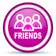 Friends violet glossy icon on white background - Stock Photo