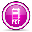 Stock Photo: Pdf violet glossy icon on white background
