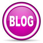 Blog violet glossy icon on white background — Stock Photo #16328303