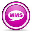 Mms violet glossy icon on white background — Stock Photo #16328835