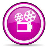 Cinema violet glossy icon on white background — Stock Photo