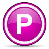 Park violet glossy icon on white background — Stock Photo