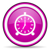 Alarm clock violet glossy icon on white background — ストック写真