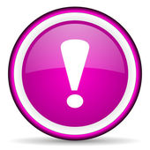Exclamation sign violet glossy icon on white background — Stock Photo