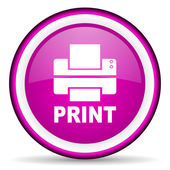 Print violet glossy icon on white background — Stock Photo