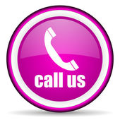 Call us violet glossy icon on white background — Stock Photo