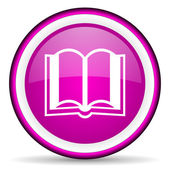 Book violet glossy icon on white background — Stock Photo