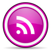 Rss violet glossy icon on white background — Stock Photo