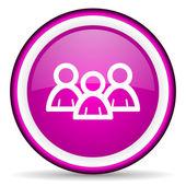 Forum violet glossy icon on white background — Stock Photo