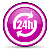 24h violet glossy icon on white background — 图库照片