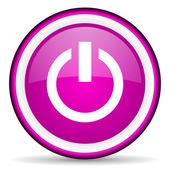 Power violet glossy icon on white background — Stock Photo
