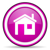 Home violet glossy icon on white background — Foto de Stock