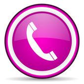 Telephone violet glossy icon on white background — Stock Photo
