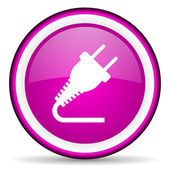 Plug violet glossy icon on white background — Stock Photo