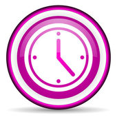 Clock violet glossy icon on white background — Stock Photo