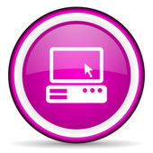 Pc violet glossy icon on white background — Stock Photo