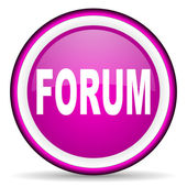 Forum violet glossy icon on white background — Stock Photo
