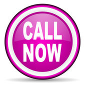 Call now violet glossy icon on white background — Stock Photo